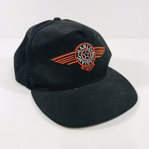 Harley Davidson Black Baseball Cap Hat Orange Logo